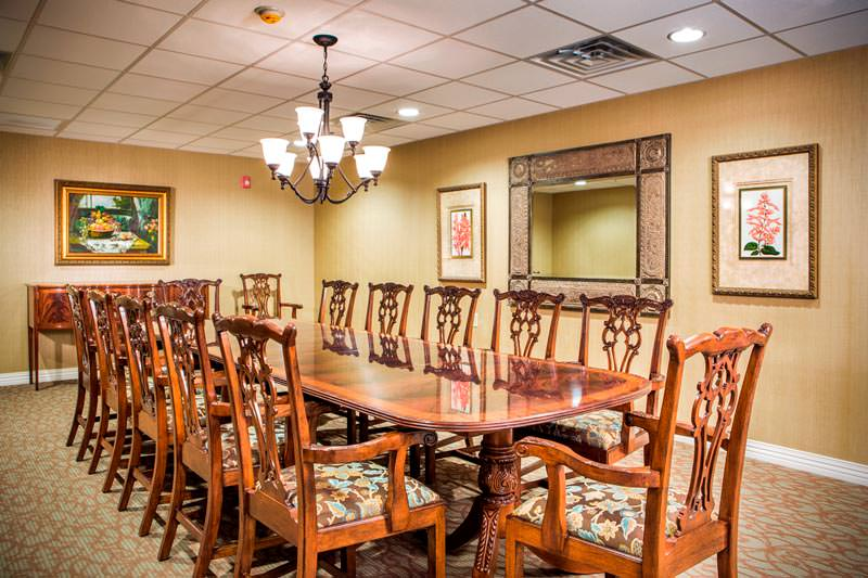 Dining table at Woodbridge Clinton Senior Living